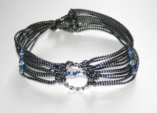 1970s themed silver collar with blue and white