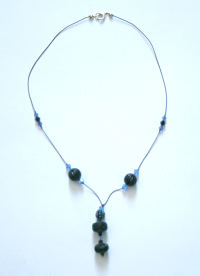 Beading: black and blue necklace