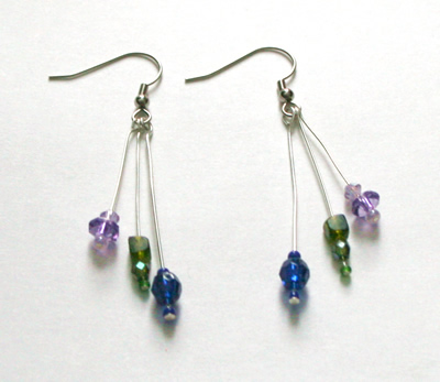 Blue, green and purple triple earrings