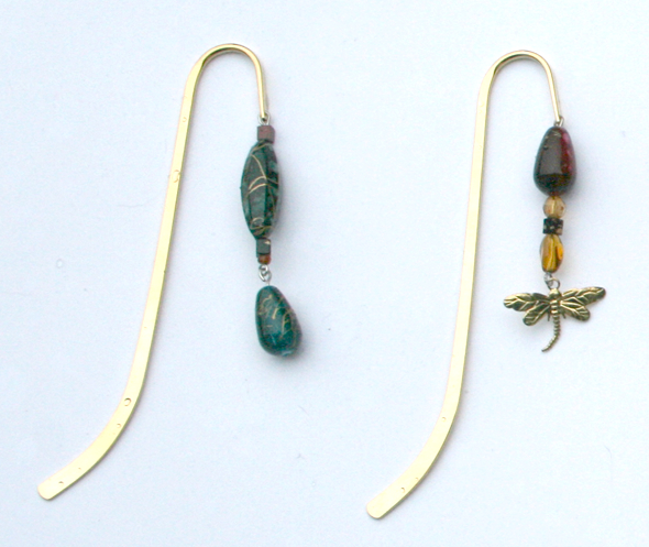 Beading: two golden bookmarks