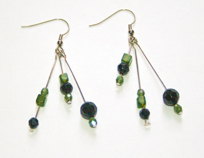 Green and black triple earrings