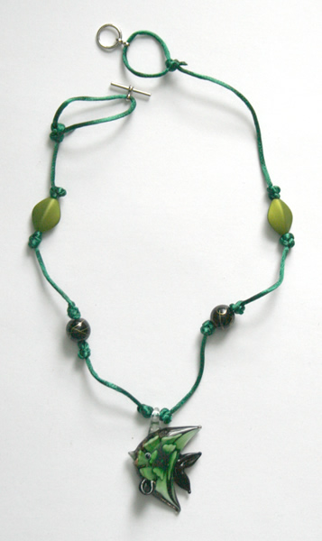 Beading: green cord, green fish pendant necklace