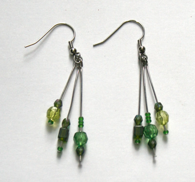 Green triple earrings