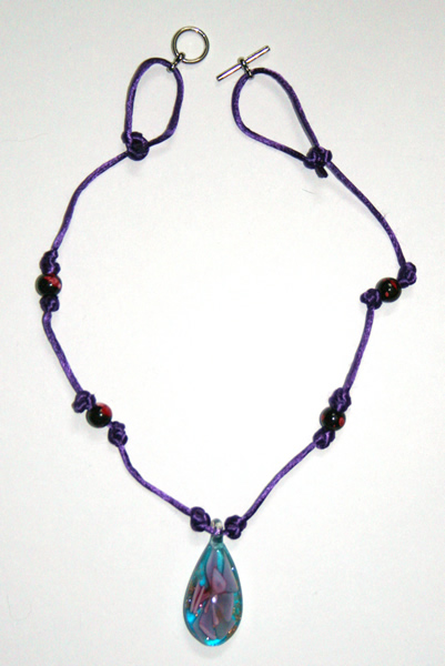 Beading: purple cord, blue pink flower pendant necklace