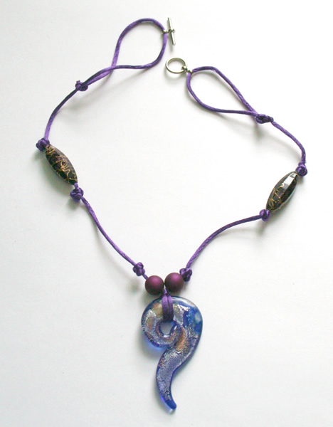 Beading: purple cord, purple spiral pendant necklace