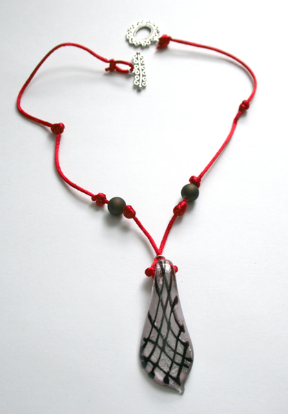Beading: red cord, grey and black pendant necklace