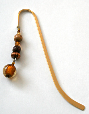 Beading: gold-tone bookmark #12, amber and wood, with gold-colour drop