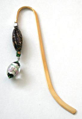 Beading: gold-tone bookmark #14, green and purple, with silver-colour and roses drop