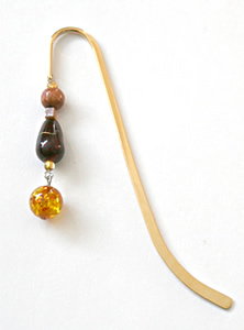 Beading: golden bookmark #1 with amber drop