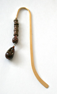 Beading: gold-tone bookmark #2, amber, dark red and wood, with dark red drop