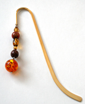 Beading: gold-tone bookmark #4, amber and wood, with amber drop