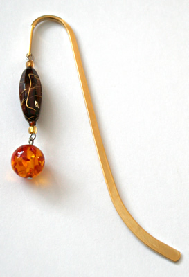 Beading: gold-tone bookmark #5, amber and brown, with amber drop