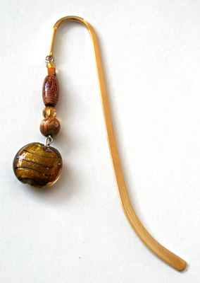 Beading: gold-tone bookmark #7, amber and wood, with gold-colour drop