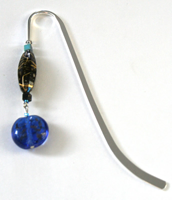 Beading: silver-tone bookmark #1, brown and blue, with blue drop