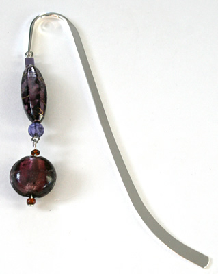 Beading: silver-tone bookmark #2, purple, with purple drop