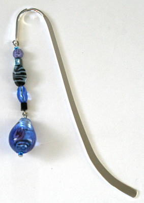Beading: silver-tone bookmark #3, black and blue, with blue and roses drop