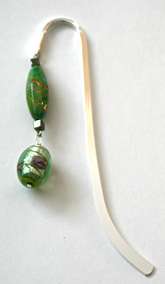 Beading: silver-tone bookmark #5, green, with green and roses drop