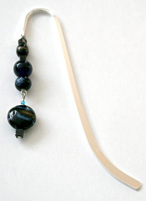 Beading: silver-tone bookmark #6, black and blue, with black drop