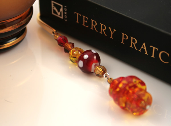 Gold-tone bookmark #15, amber, red, and yellow, with amber drop, etsy, book and glass, medium