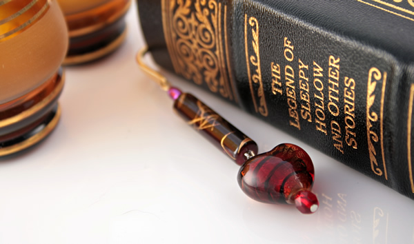 Gold-tone bookmark #18, red and purple, with dark red heart drop, etsy, book and two glasses, medium