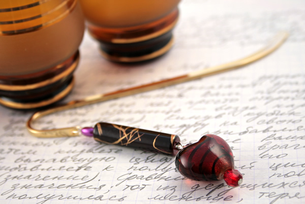 Gold-tone bookmark #18, red and purple, with dark red heart drop, etsy, writing, medium