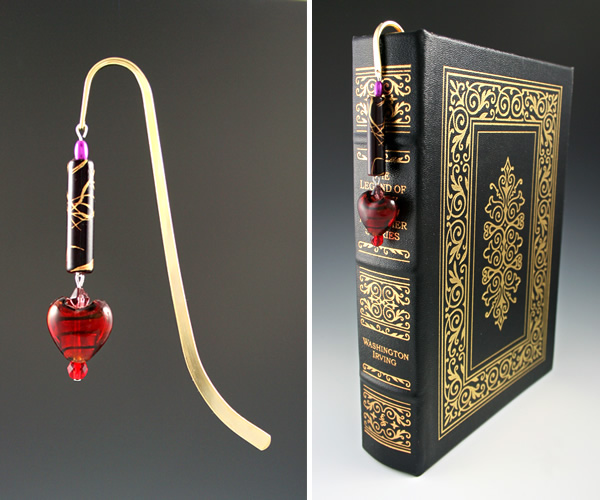 Gold-tone bookmark #18, red and purple, with dark red heart drop, medium