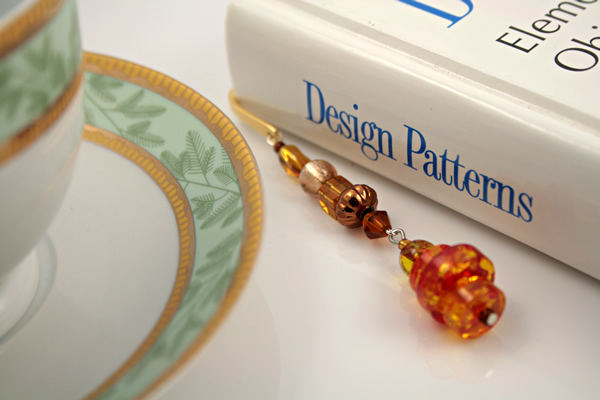 Beading: Gold-tone bookmark #20, amber and brown, with amber drop, etsy, book and green cup