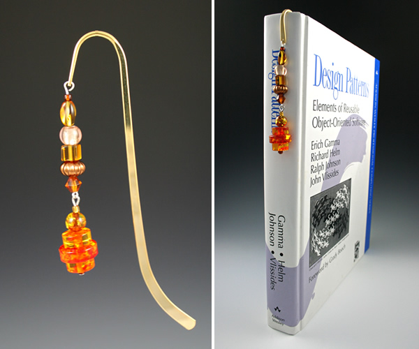Beading: Gold-tone bookmark #20, amber and brown, with amber drop