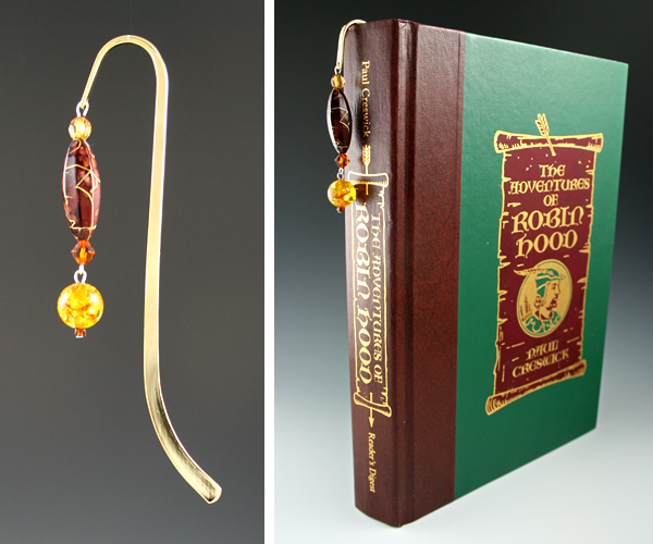 Gold-tone bookmark #22, amber and brown, with amber drop