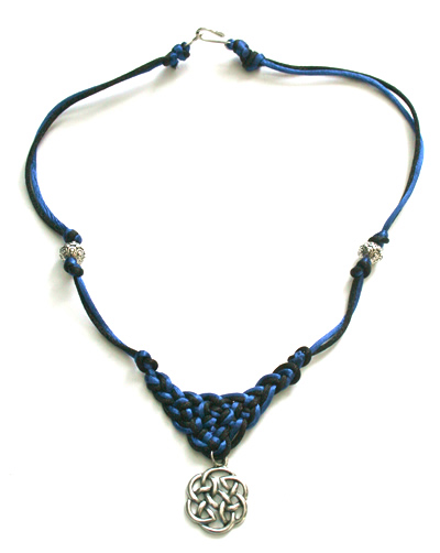 Blue black Celtic cord necklace with pendant