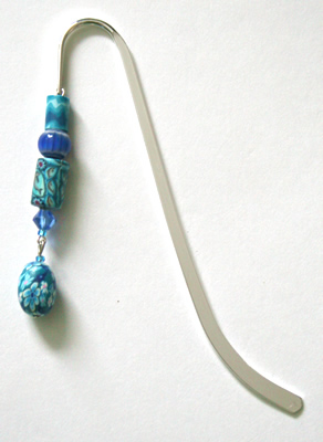 Beading: silver-tone bookmark #10, blue patterns, with blue drop