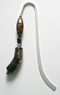 Beading: silver-tone bookmark #11, black, brown, and golden, with black and golden drop