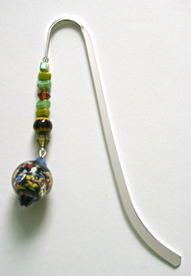 Beading: silver-tone bookmark #12, multicolour, with multicolour drop