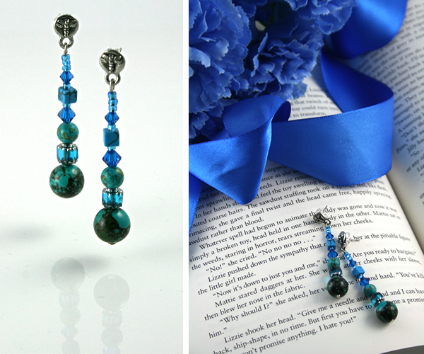 Beading: Blue and turquoise dragonfly stud earrings
