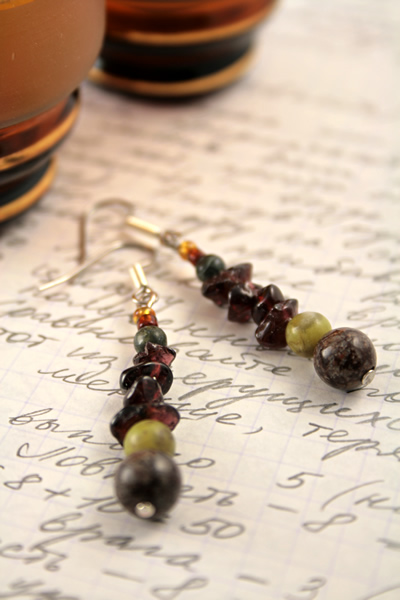 Beading: Garnet Russian serpentine gemstone earrings, etsy, writing and 2 glasses