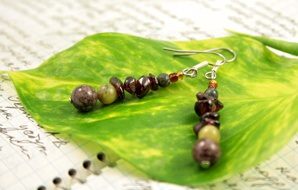 Beading: Garnet Russian serpentine gemstone earrings, etsy, writing and leaf