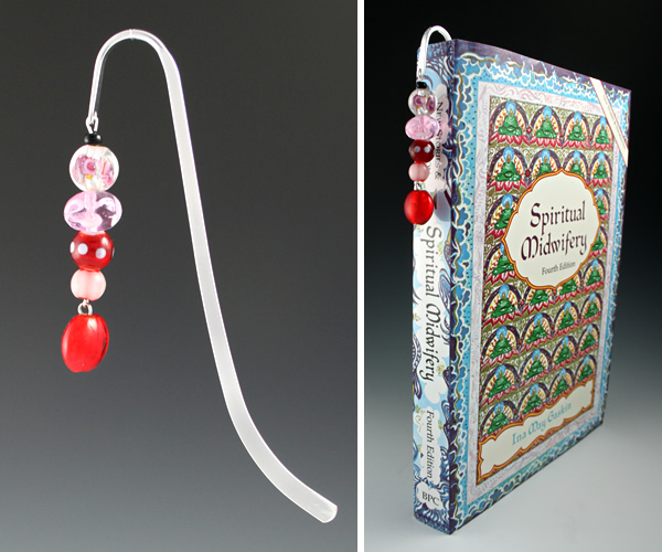 Silver-tone bookmark #17, red and pink, with red round drop