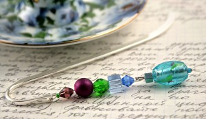 Silver-tone bookmark #18, blue, green, and purple, with blue and green drop, etsy, blue saucer, medium