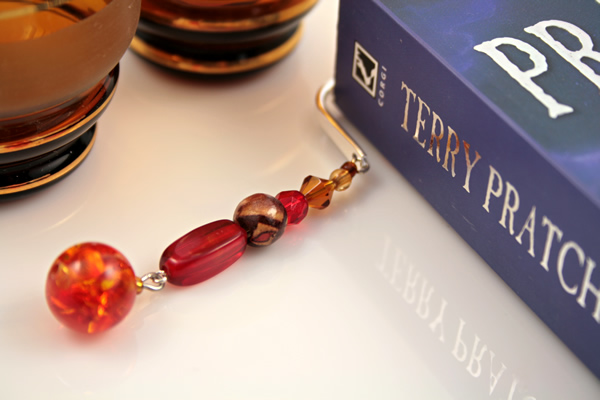 Beading: Silver-tone bookmark #19, amber, wood, and red, with amber drop, etsy, book and 2 glasses