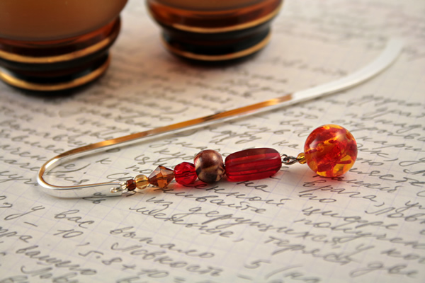 Beading: Silver-tone bookmark #19, amber, wood, and red, with amber drop, etsy, writing and 2 glasses