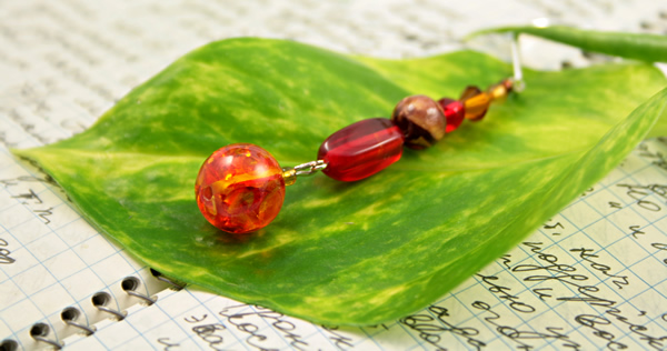 Beading: Silver-tone bookmark #19, amber, wood, and red, with amber drop, etsy, writing and leaf