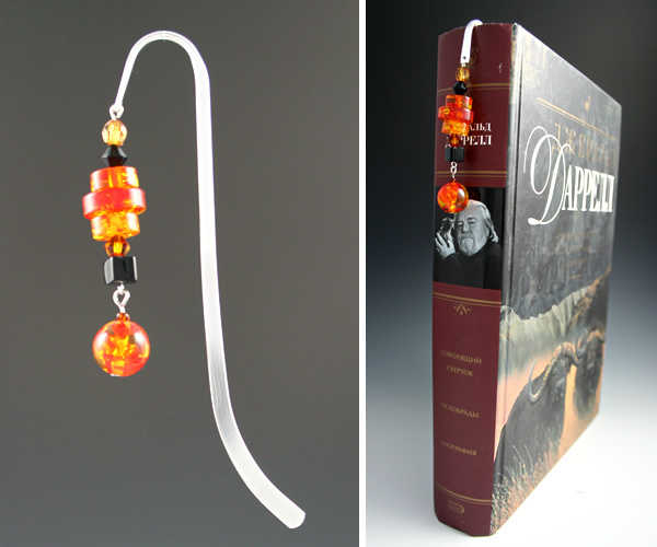 Silver-tone bookmark #20, black and amber, with amber drop