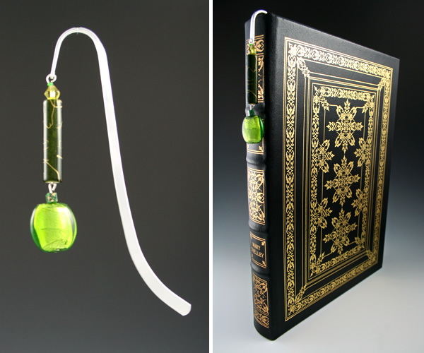Silver-tone bookmark #24, green, with green drop, book shot