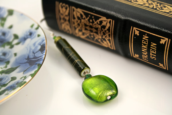 Beading: Silver-tone bookmark #24, green, with green drop, etsy, book and blue cup