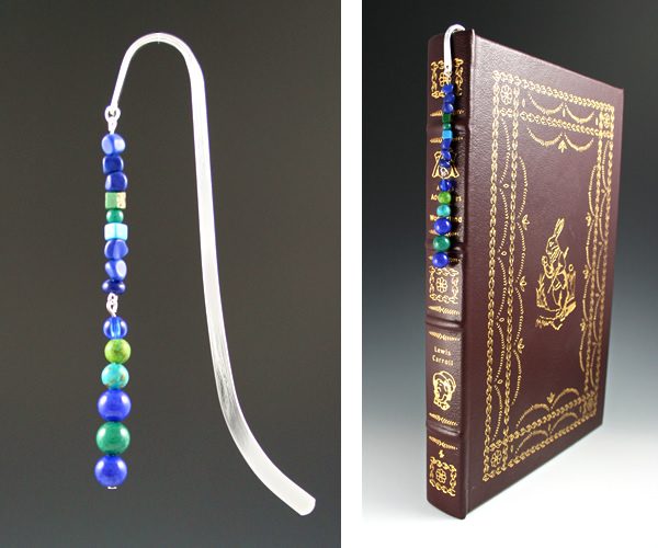 Silver-tone bookmark #25, blue and green