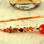 Amber fantasy gold plated bookmark, etsy, beige bg, medium