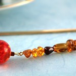 Amber fantasy gold plated bookmark, etsy, blue bg, medium
