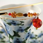 Amber fantasy gold plated bookmark, etsy, blue cup, medium