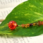 Amber fantasy gold plated bookmark, etsy, leaf, medium
