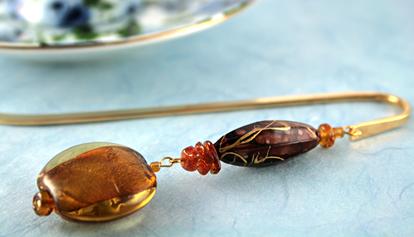 Autumn evening gold plated bookmark, etsy, blue bg, medium